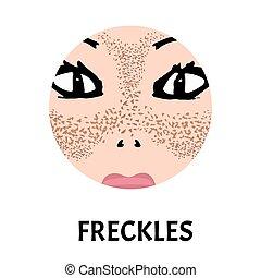 fleck, face., pigmentiert, pigmentation, vorher, treatment., skin., vektor, abbildung, haut, sommersprossen, nach