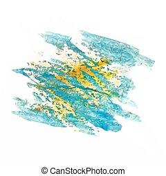 fleck, vektor, aquarell, freigestellt, masche, blaues, gelber