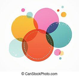 flecke, punkte, bunte, briefmarke, abstrakt, handgearbeitet, hand, hintergrund, tinte, gezeichnet