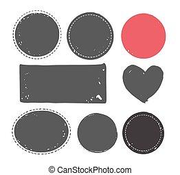 flecke, satz, briefmarke, abstrakt, handgearbeitet, hand, formen, tinte, handcrafted, gewebe, gezeichnet