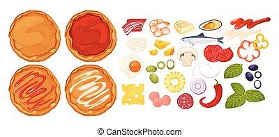fleisch, sammeln, vektor, constructor., italienesche, vegetables., satz, bestandteile, saftig, pizza, teig, pizza