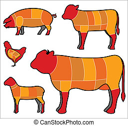 Fleisch schneiden.