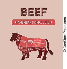 fleisch, ursprünglich, schnitte, rindfleisch, amerikanische , diagramm