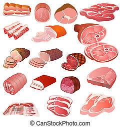 Fleischsorten verschiedener Art