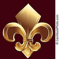 Fleur de lis, neue Orleans in Gold