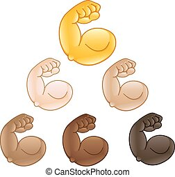 Flexed biceps hand emoji.