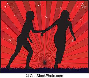 Fließende Mädchen - roter Hintergrund.