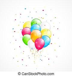 Fliegende Ballons und Konfetti.