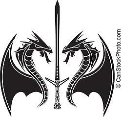 Fliegende Drachen und Schwerter