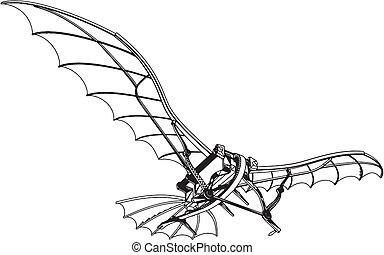 Fliegende Maschine Leonardo hängt Gleiter