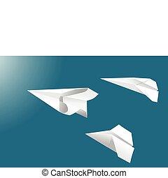 Fliegende Papierflugzeuge