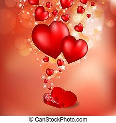 Fliegende rote Herzen abbrechen. Valentinsgrußkarte