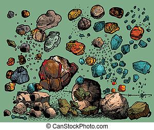 Fliegende Steine und Steine