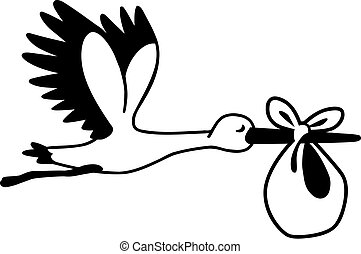 Fliegender Cartoon Storch mit Baby.
