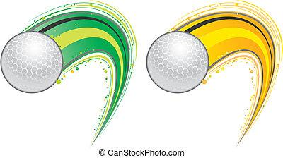 fliegendes, golf- kugel