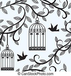 fliegendes, käfig, vögel