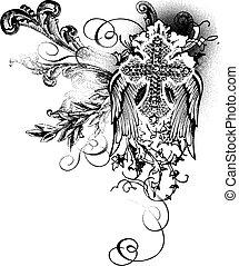 Fliegendes Kreuz mit Schriftrolle