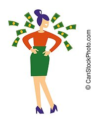fliegendes, rechnungen, preis, frau, oder, gewinn, dollar, geschaeftswelt, geld