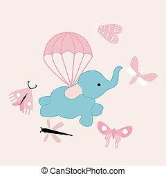 fliegendes, vektor, abbildung, reizend, elefant
