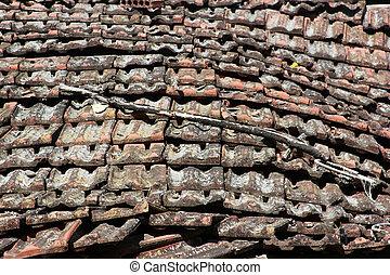 fliesenmuster, altes , mauerstein, dach