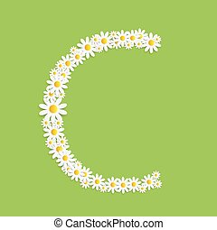 Flora Daisy Design Alphabet-Vektor illustartion.
