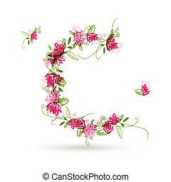 Floral Buchstabe C für Ihr Design.