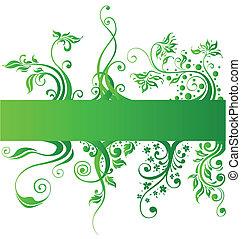 Floral Designelemente, grüner Naturvektor.