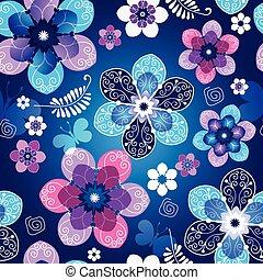 Floral dunkelblau, nahtlose Frühlingsmuster.