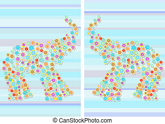 Floral Elephant auf Abstract Blue Background