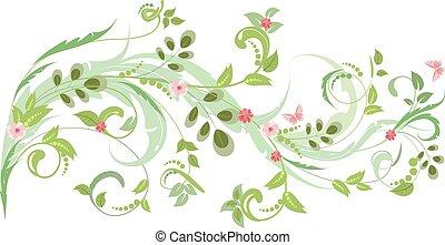 floral entwurf, vlinders, verzierung, dein