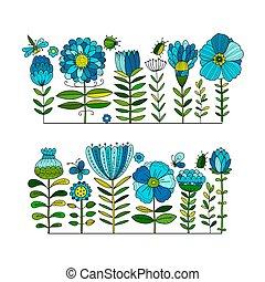 Floral Garden, Sketch für Ihr Design