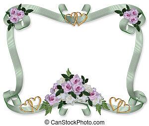 Floral-Grenze-Hochzeitseinladungen Rosen