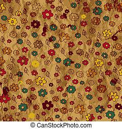 Floral Grunge-Hintergrund auf dem Papier
