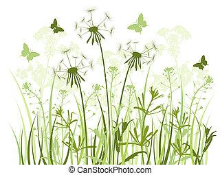 Floral Hintergrund mit Gras und Löwenzahn