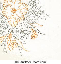 Floral Hintergrund mit handgefertigten Iris.