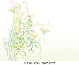 Floral Hintergrund mit Pflanzen und B