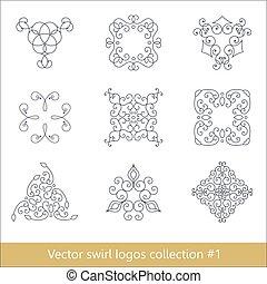 Floral Logos Sammlung. Wirbelelemente für Design. Dünne Linie.