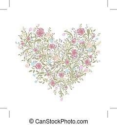 Floral Love Strauß für Ihr Design, Herzform.