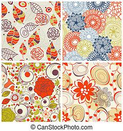 Floral nahtlose Muster in trendigen Farben.