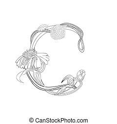 Floral Schriftart, Buchstabe C