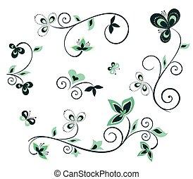Florale Designelemente.
