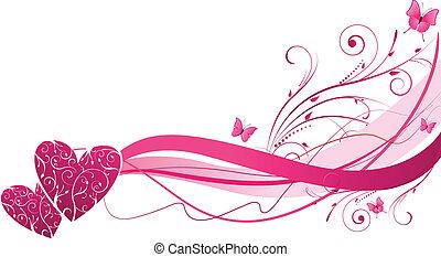 Florale Welle mit Herzen.