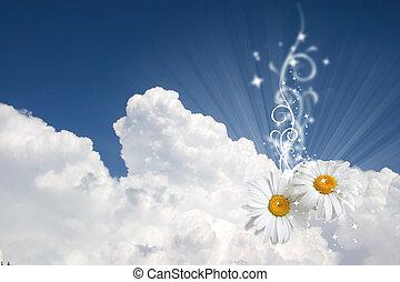 Floraler Himmel im Hintergrund