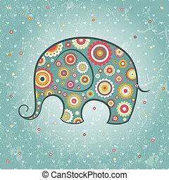 Floraler Vektor-Elefant