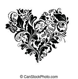 Florales schwarzes Herz.