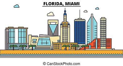 Florida, Miami.Stadt Skyline: Architektur, Gebäude, Straßen, Silhouette, Landschaft, Panorama, Wahrzeichen, Ikonen. Bearbeitende Striche. Flat Designlinie Vektorgrafik Konzept.