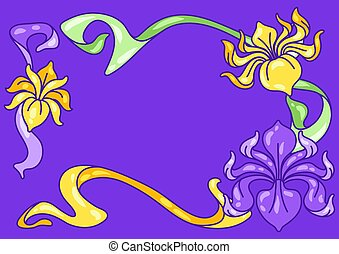 flowers., rahmen, weinlese, neu, iris, kunst, style.