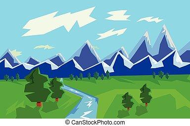 fluß, berg, grafik, landschaftsbild, abbildung