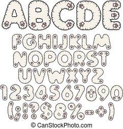 Fluffy weißes Alphabet, Buchstaben, Zahlen und Zeichen mit rosa Pfoten. Isolierte Vektorobjekte.