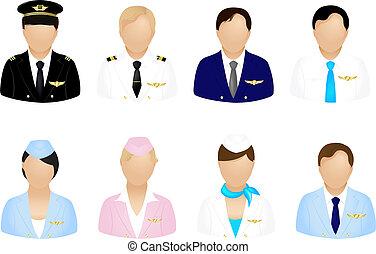 Flugzeug-Crew-Icons.